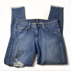 Just Black distressed raw frayed hem skinny jeans